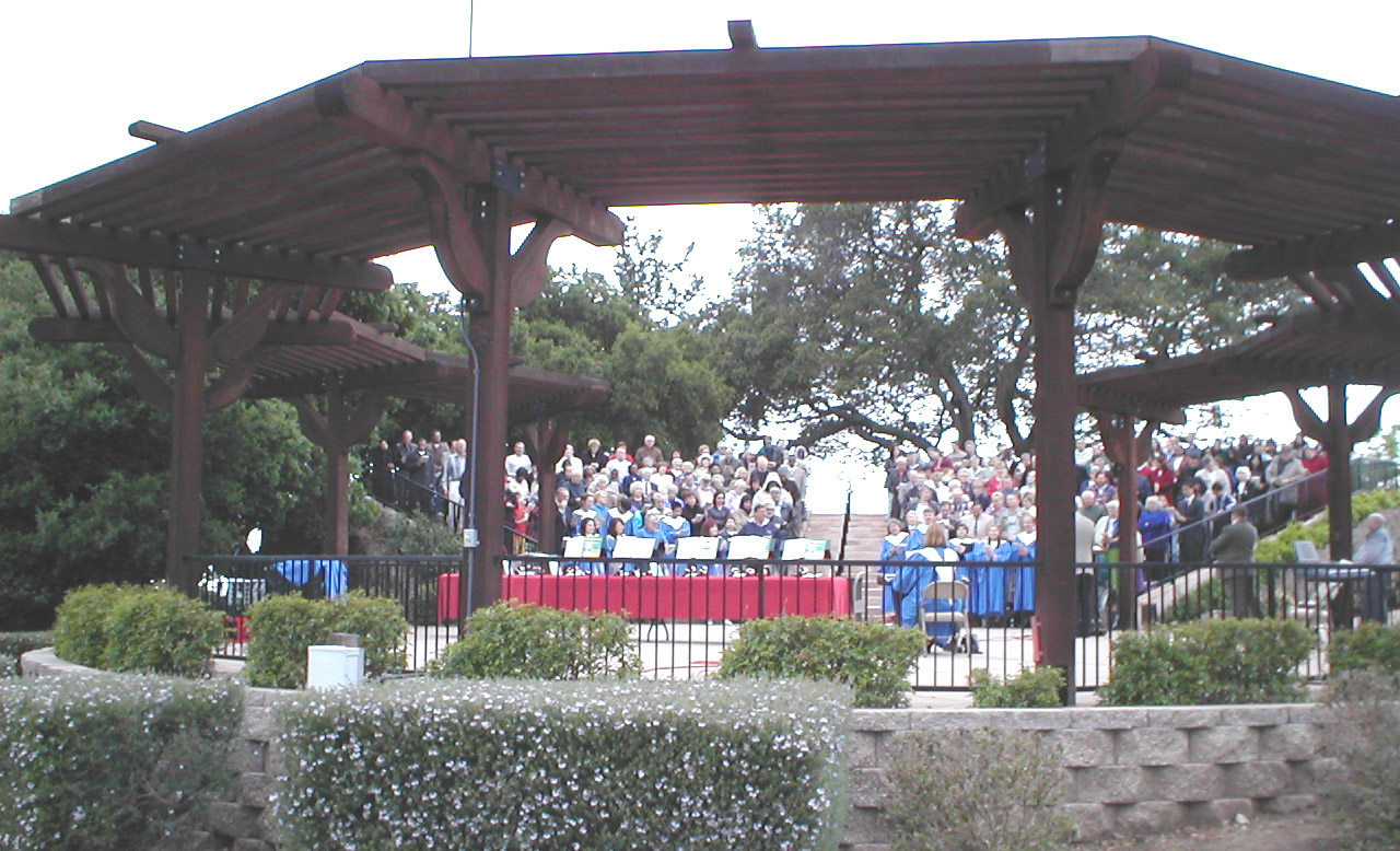 Circular amphitheater filled with people